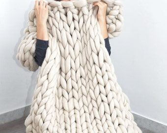 Chunky Blanket. Knitted blanket. Merino Wool Blanket. Knitted throw . Extra fine merino wool