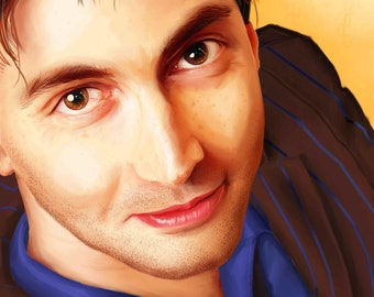 Tenth Doctor Who Tennant Portrait Painting Poster - 11x14 inch and 12x18 inch print