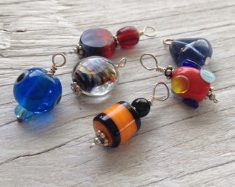 Beaded Glass Charms - Glass beaded dangle charm collection  set of 6