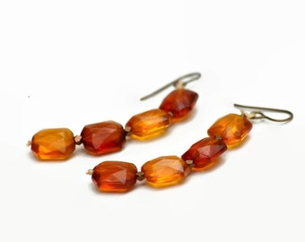 Faceted Lucite Stack Earrings Vintage Bead Faceted Brass Faux Amber Citrine Translucent Caramel Honey
