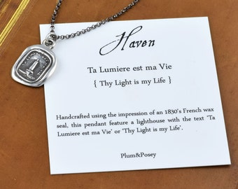 Haven - Lighthouse Wax Seal Necklace - Perfect for Mariners, Sailors and Lovers - Light of my Life - 130