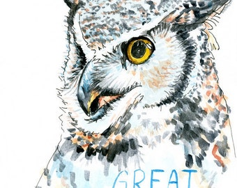 Great Horned Owl Watercolor Sketch Print 5 x 7, 8 x 10, and 11 x 14