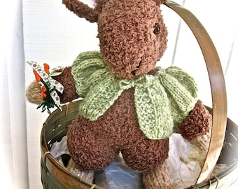 Knit Animal, Stuffed Bunny Doll, Hand Knit Doll, One of a Kind, Collectible Heirloom Knit Doll