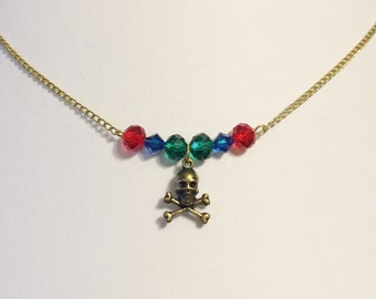 Pirate Necklace - Pirate Costume Necklace - Skull and Crossbones Necklace - Pirate Jewels Necklace