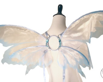 Lina No. 22, Medium Organza Fairy Wings in Palest Pink and Light Blue