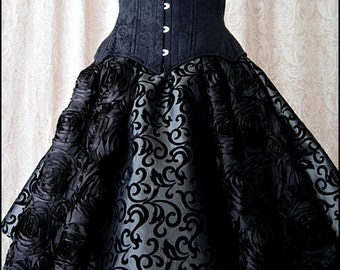 Midnight Garden Skirt in Luminous Vintage Silver Taffeta with Velvet Flocking and Black Satin Roses - Brand New by Kambriel