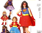 Girls Superheroine Cape overskirt and dress Sewing Pattern MCCalls P371 Costumes Halloween Sz 3 to 8 UNCUT