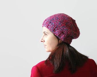 Tweed Red Beanie, Hand Knit Hat, Womens Beanies, Chunky Knit Hat, Cute Beanie, Beanie Hat, Slouchy Hat, Basic Beanie, Chunky Beanie