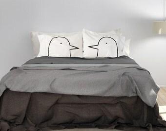 Couples Pillows, Lovebirds Pillow Cases, men gift, couples gift, his hers pillowcase set. husband, gift for him, wedding gift, bird lover