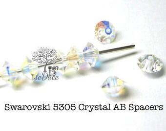 Vintage 180 pcs Crystal AB Swarovski 5305 Flat Bicone 5mm Spacer Beads