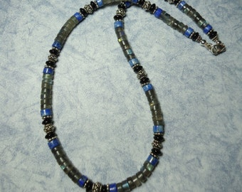 "Sale AH Necklace Labradorite Lapis Lazuli Black Onyx Sterling Silver 18"" Inch Gemstone Bead Necklace"