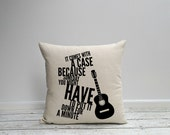 Accent Pillow, Pillow cover, Guitar Pillow, Acoustic Guitar or Electric Guitar, Quote Pillow, Gift for Him, Husband Gift, Teen Boy Gift