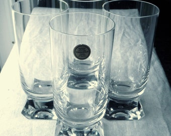 Set of 4 new Villeroy & Boch Crystal Glasses- Crystal Cocktail Club -Collins Glasses - Highball Tumblers - Wedding Shower Gift Ideas - 14 oz