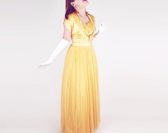 50s Yellow Gold Satin and Netting Long Dress and Bolero Jacket S M