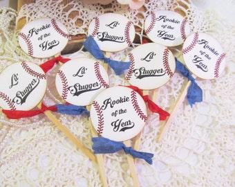 Vintage Baseball Cupcake Toppers - Set of 12 or 18 - Choose Ribbons - Baby Shower Birthday Baseball Sprinkle