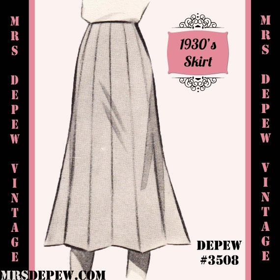 1930s Dresses, Clothing & Patterns Links Vintage Sewing Pattern 1930s 1940s A-line Skirt in Any Size Depew 3508 - Plus Size Included -INSTANT DOWNLOAD- $7.50 AT vintagedancer.com