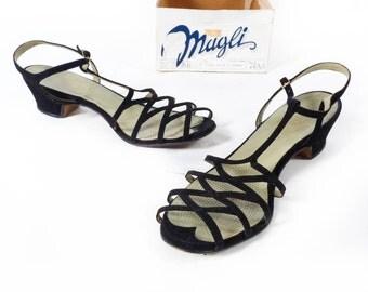 Vintage 50s Heels // 1950s Heels // Peep Toe Heels // Peeptoe Heels // T Strap Heels //  Black Suede Sandals - sz 7.5