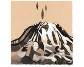 MT RAINIER Just the Tip (Gold Leaf Embellished Giclée Print)