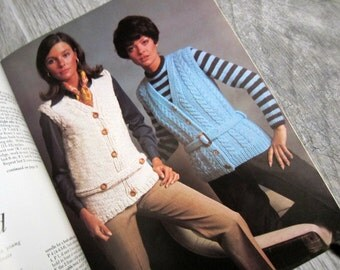 1960s Knitting Patterns, Columbia Minerva Sweater Bazaar, Book 771, 29 sweaters to knit, 1 to crochet, pullovers, vests, cardigans, jackets