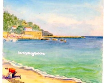 Vintage - 1952 - FRENCH  RIVIERA, Le LAVANDOU -Genuine Art Watercolour on paper, not framed- Signed & dated by the Artist - Good condition,
