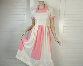 1940s Pink & White Colorblock Dress- 40s Waitress Style- Small- Square Neck- Cotton / Linen