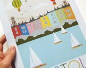 Bristol A4 or A3 Art Print // Typography // Art // Print // Artwork // Illustration // Hot Air Balloons // Boats // Home Decor // Wall Art