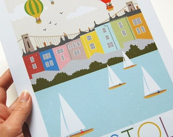 Bristol Art Print, Bristol Illustration, Bristol Gift Ideas, Bristol Typographic Print, Hot Air Balloon, City Print, British Decor, Wall Art