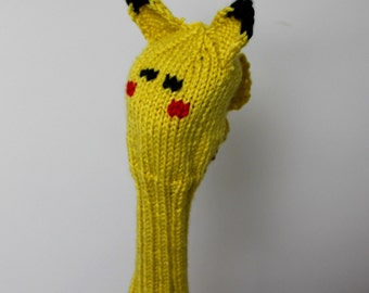 Pikachu, Pokemon, Golf Club Cover, Golf Headcover, Golf Head Cover, Knit Golf Club Cover, Knitted Golf Head Cover, Gifts for Men