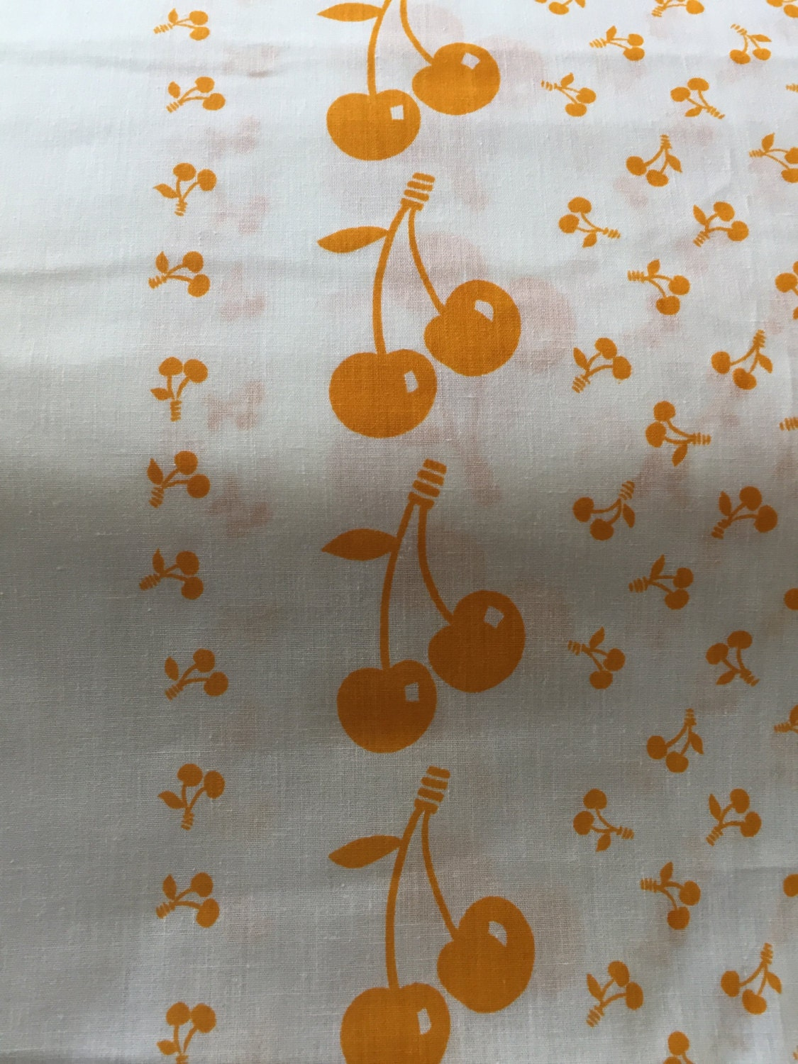 "80's Yummy, Vintage, Kitch, ""Cherry, Cherry Bo-berry"" Border Print in Pumpkin//All Cotton// WOW 62"" wide//Sold By The Yard"