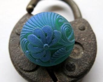 NEW .  Czech Art Glass Buttons, Handpainted Bohemian Matte Glass (2 pieces) 18 mm