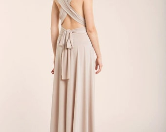 Bridesmaid long dress, beige bridesmaids dresses, backless long dress, champagne long dress, cream long dress, event gown, long prom dress