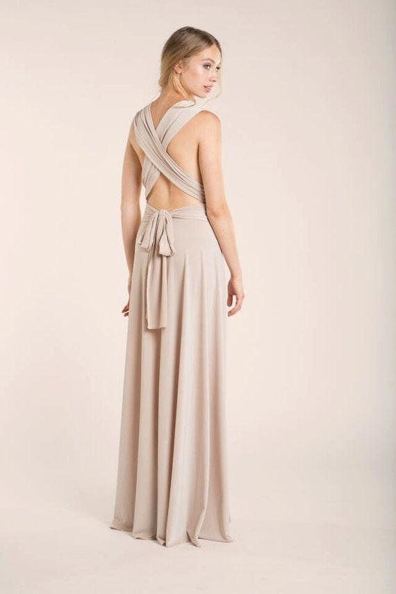 Bridesmaid Long Dress Beige Bridesmaids Dresses Backless