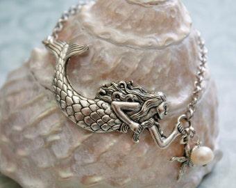Mermaid Bracelet, Silver Mermaid Bracelet, Blue Mountain Jade Mermaid Bracelet, Mermaid jewelry