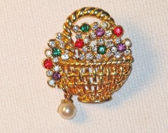Vintage Rhinestone Floral Basket Brooch Pin (B-4-1)