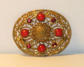 Vintage Gold Plated Filigree Red Glass Rhinestone Brooch Pin (B-4-1)