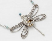 Steampunk Necklace vintage Hamilton watch movement silver dragonfly pendant with aquamarine blue Swarovski crystal beads Statement necklace