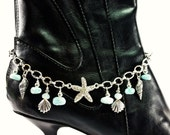 Ocean Breeze Boot Candee Boot Bracelet with Larimar and Aquamarine Gemstones