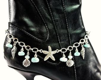 Ocean Breeze Boot Candee Boot Bracelet with Larimar and Aquamarine Gemstones