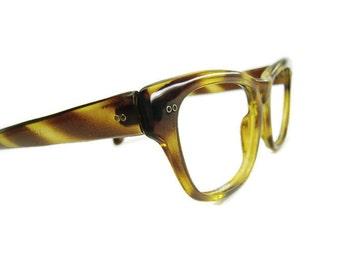 Vintage Mens Womens Brown Tortoise Hornrim Cateye Eyeglasses Eyewear Frame