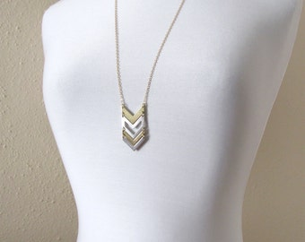 Gold and silver chevron cutout pendant necklace, geometric jewelry, chevron necklace, mixed metal