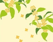 Japanese Tenugui Cotton Fabric, Hand Dyed Fabric, Autumn Fabric, Kawaii Shiba Inu Dog, Osmanthus, Sun, Wall Art Hanging, Gift Wrapping, h082