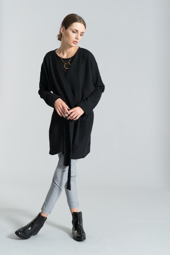 Belted Cardigan/ Sweater Dress/ Oversize Sweater/ Black