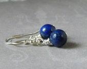 Small Lapis Earrings Sterling Silver Lapis Lazuli Earrings Royal Blue Earrings Indigo Lapis September Birthstone Gift Wife Girlfriend