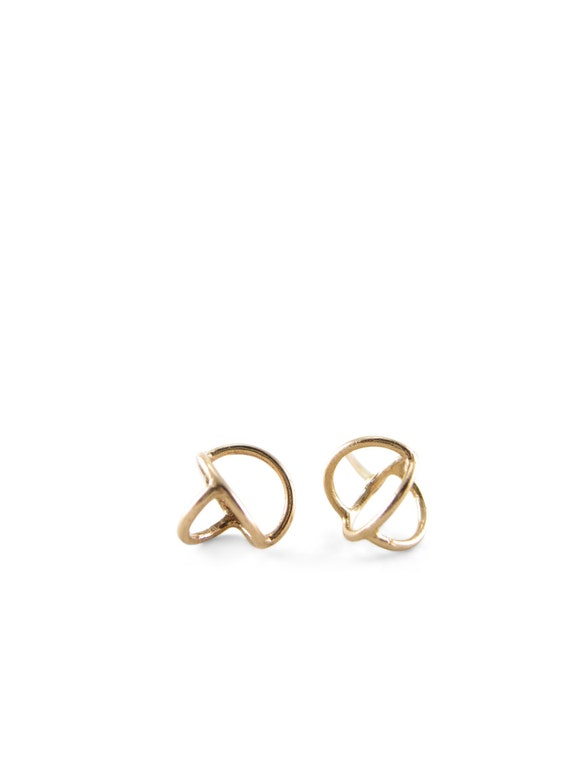 Gyroscope Stud Earring Solid Gold | Tiny Gold Stud Solid | Solid Gold stud earring | time turner gold | gold time turner | Gold post earring