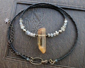 Quartz Crystal & Labradorite Necklace, gray and yellow Bohemian style jewelry with golden lemon quartz and black seed beads
