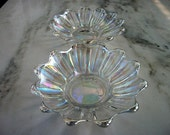Set 2 Iridescent carnival glass shallow dish bowls serving plates collectible vintage gift ideas of glassware