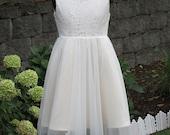 Flower girl dress lace bodice tulle skirt