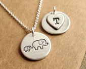 Personalized Small Mother and Baby Elephant Necklace, New Mom Necklace, Elephant Monogram, Fine Silver, Sterling Silver Chain, Made To Order