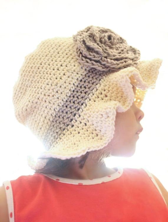 SUMMER SALE 3 to 6m Sun Hat Baby Flower Hat - Cream Crochet Cloche Hat Rose Flower Leaf Baby Hat Brim Flapper Hat Infant Girl Hat
