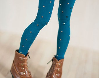 Peacock blue leggings for BJD